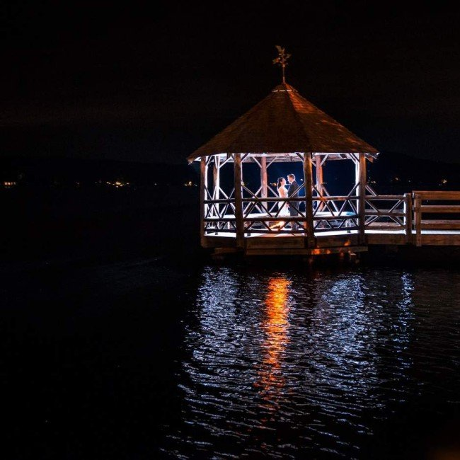 Night Shot of Gazebo at Lake Winnipesaukee