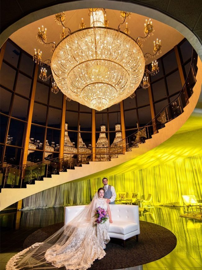 Wedding Portrait from Lombardo's in Massachusetts with their amazing chandelier